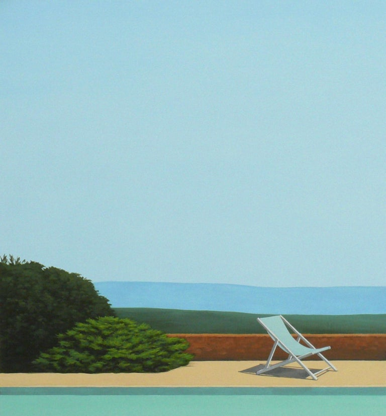 Deck Chair by the pool - landscape painting 1