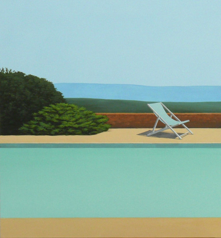 Deck Chair by the pool - landscape painting 2