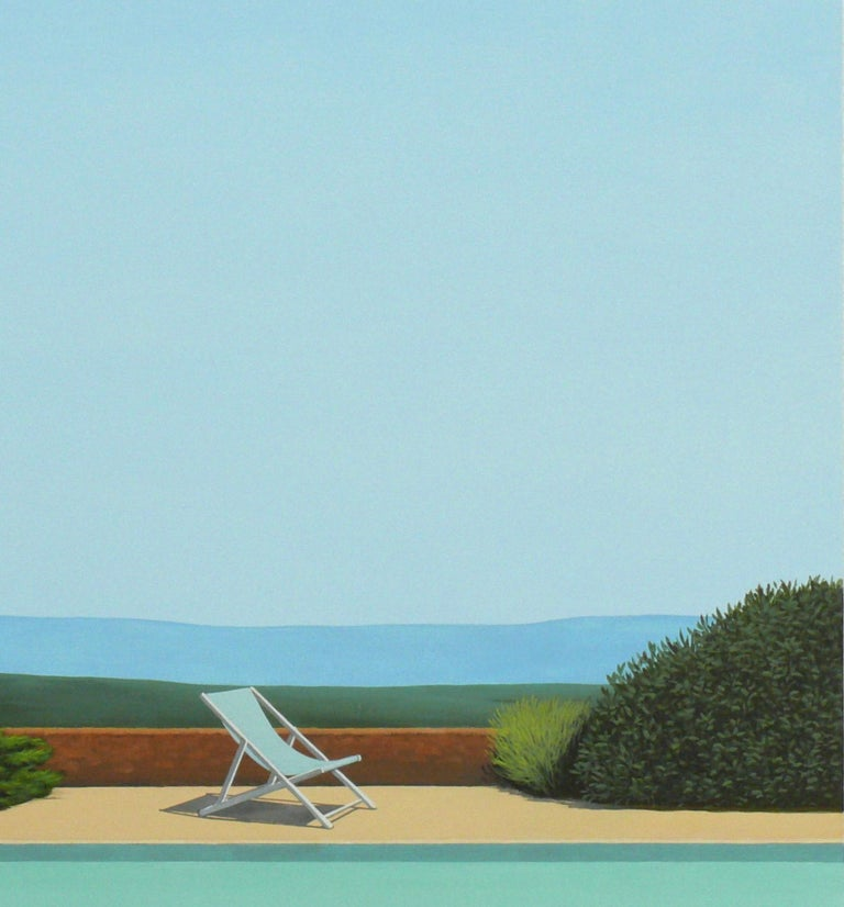 Deck Chair by the pool - landscape painting 3