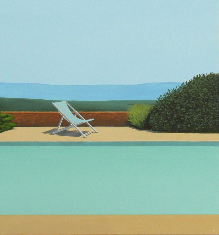 Deck Chair by the pool - landscape painting 4