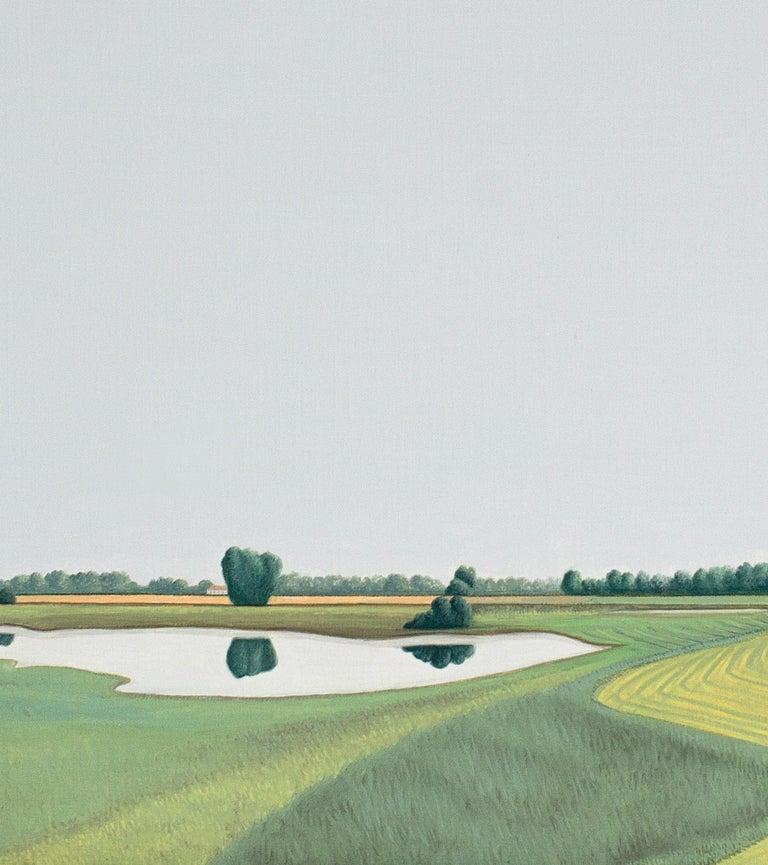 Ooijpolder - Landscape painting - Gray Landscape Painting by Jeroen Allart