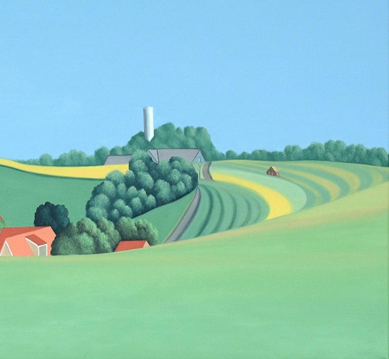 Zweden - landscape painting - Blue Landscape Painting by Jeroen Allart