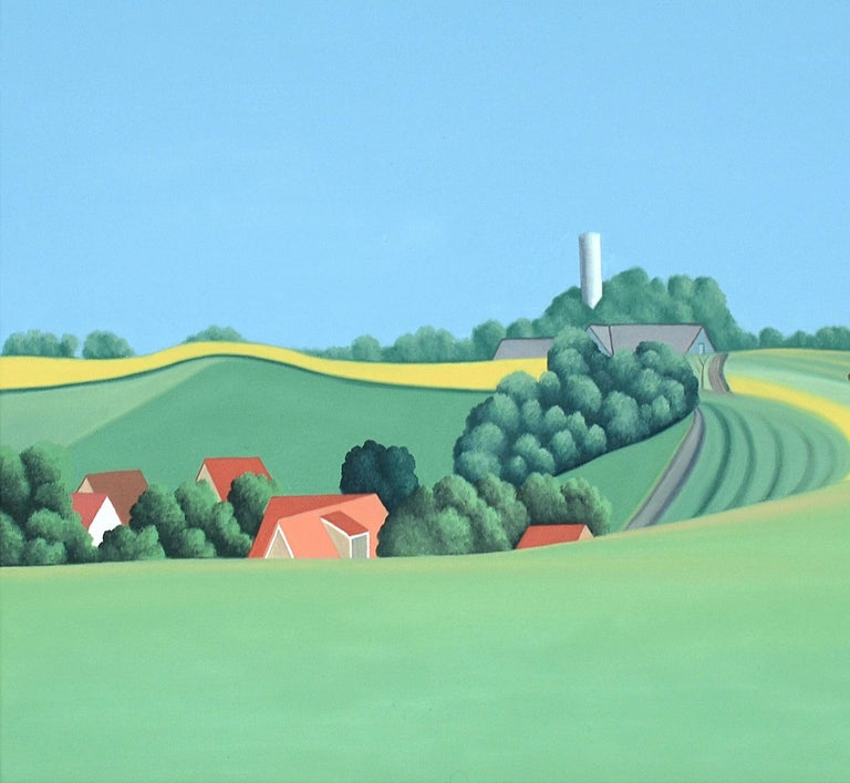 A farm stands before you on the horizon. A windmill majestically slices the blue sky. A bird, painted in taut brushstrokes, struts on a branch. These are tranquil images; horizon far in the distance. Jeroen Allart's paintings are becoming more