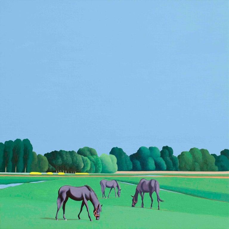 Jeroen Allart Landscape Painting - Horses - figurative landscape painting