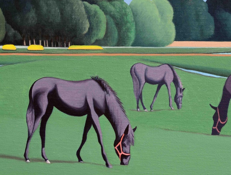 Horses - figurative landscape painting - Contemporary Painting by Jeroen Allart