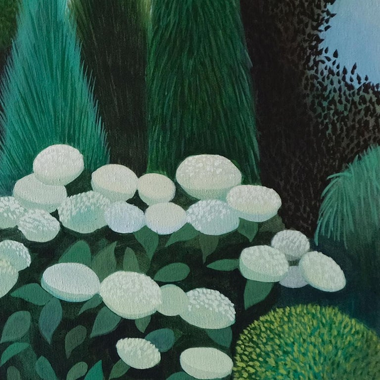 This beautiful landscape painting by Olga is part of her Pandemic series she did during the Covid 19 pandemic. As oppose to the chaos the world is experiencing due to the pandemic, her landscape paintings are the opposite; calm, almost surreal and