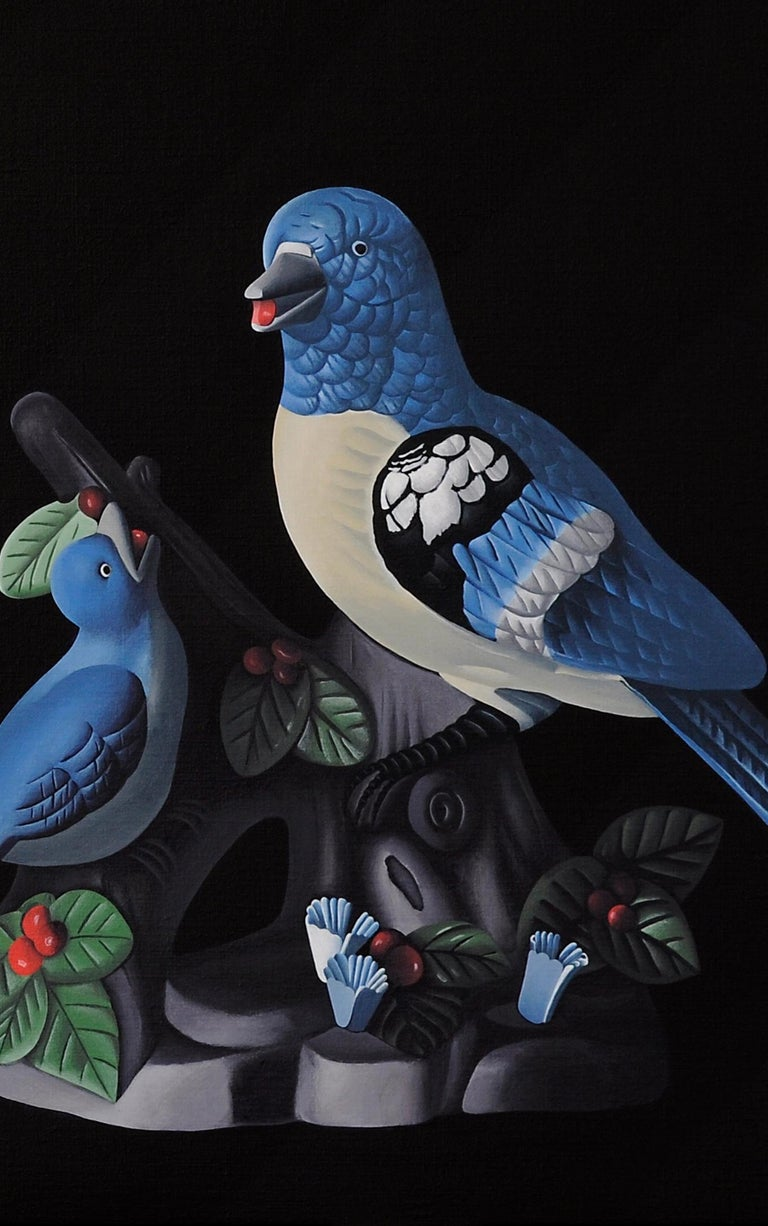 Birds - figurative landscape painting - Painting by Jeroen Allart
