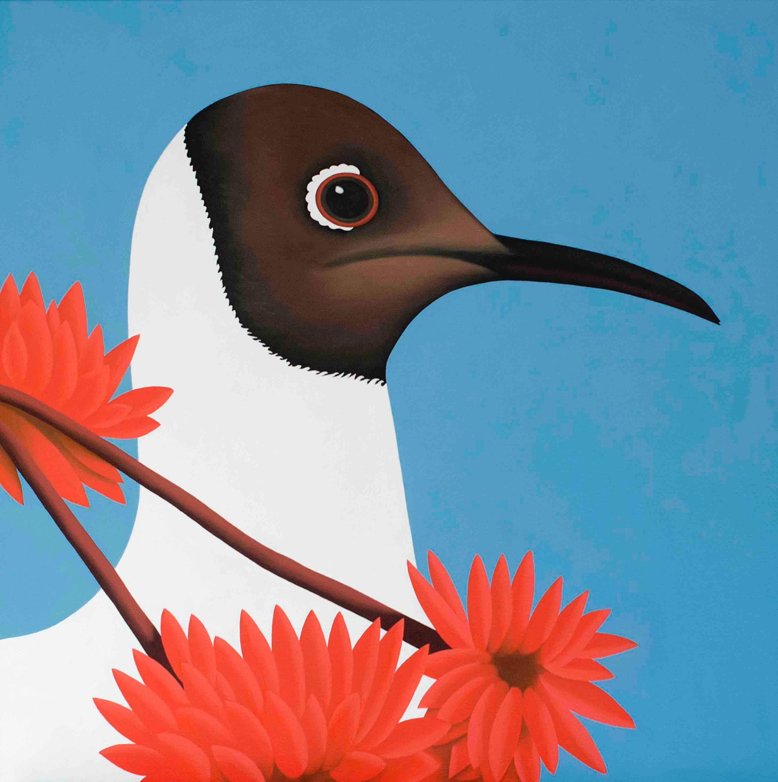 Black headed gull - figurative landscape painting