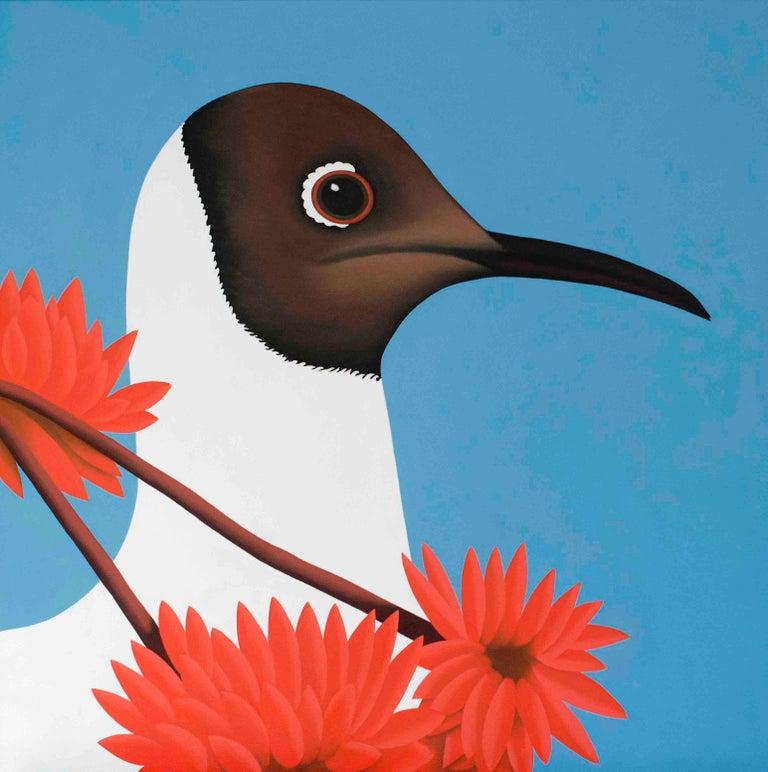 Jeroen Allart Animal Painting - Black headed gull - figurative landscape painting