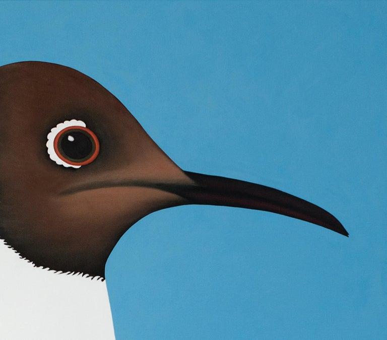 Black headed gull - figurative landscape painting - Blue Animal Painting by Jeroen Allart