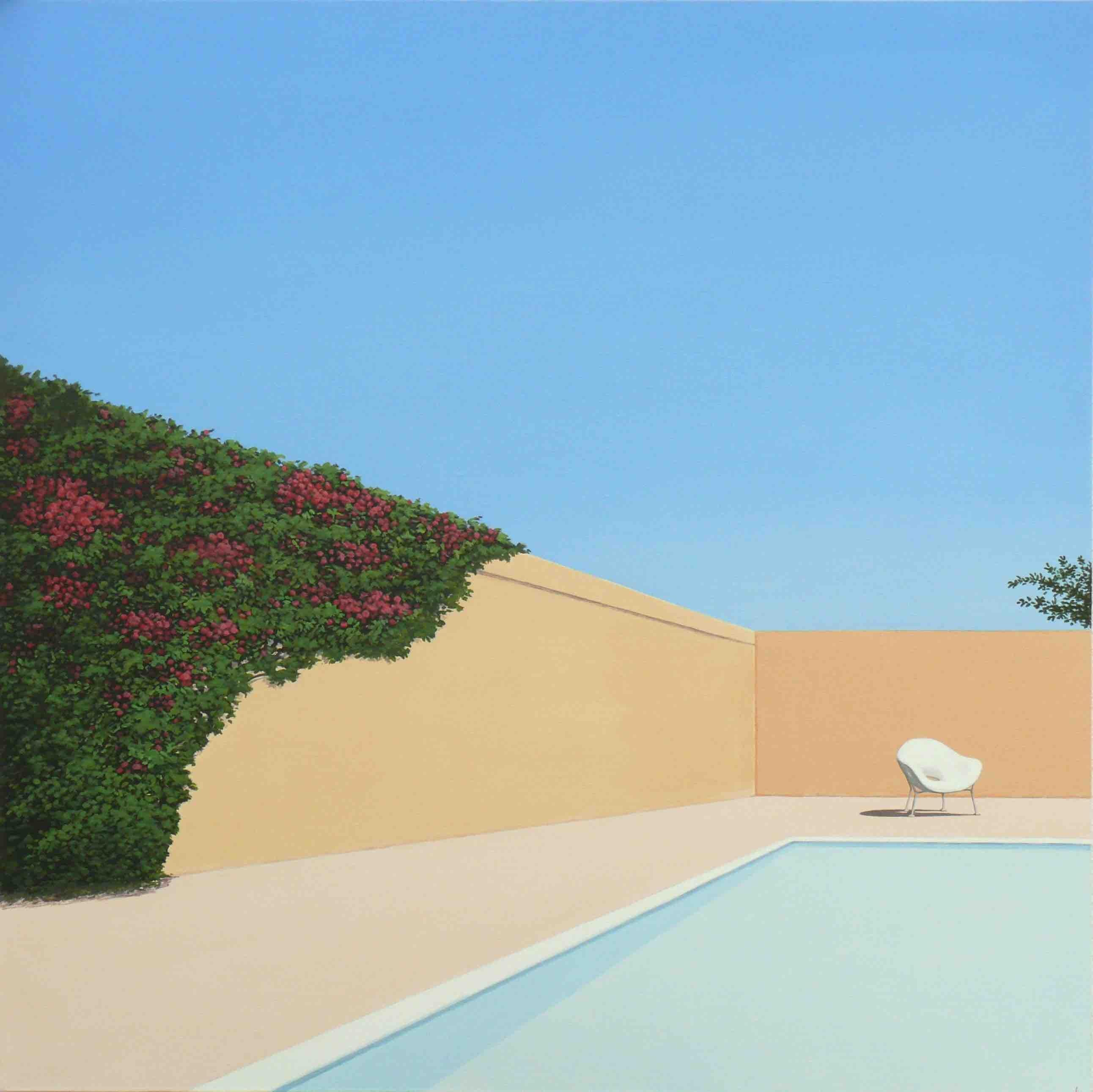 Rose garden by the pool - landscape painting