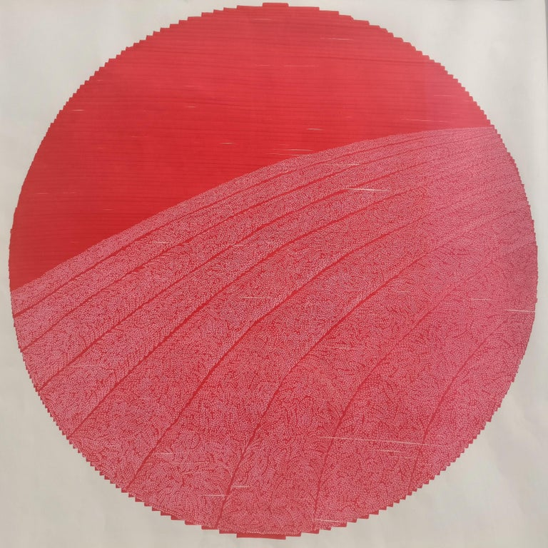 Ruth Orr Abstract Painting - Red field 1 - landscape painting