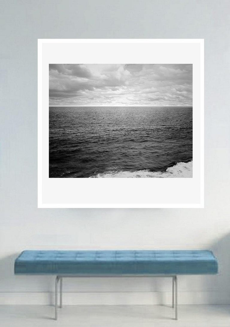 This is a color landscape photo of the Atlantic Ocean which is custom acrylic mounted, frameless and ready to install. It is also available as a black and white landscape photography of the Atlantic Ocean. Size 41 x 53.5 in.  Other sizes are also