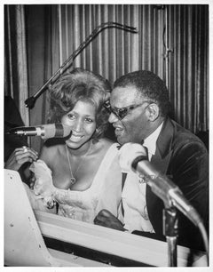 "16x20"" Silver - Music Legends Aretha Franklin & Ray Charles share a laugh, 1975"