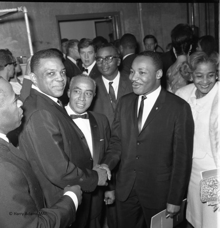 """Harry Adams Black and White Photograph - Icons and people -20x20"""" C Print -Rev Dr. Martin Luther King with Willie Mays"""