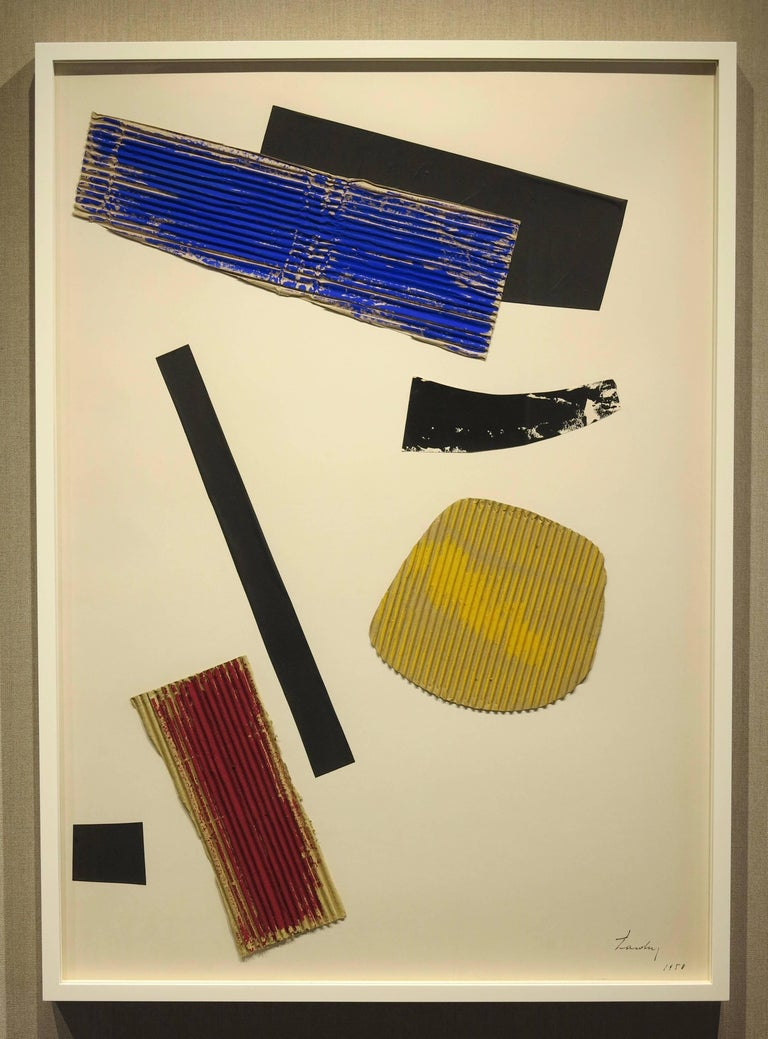 Berto Lardera (1911-1989). Collage, 1958. Paper, cardboard, paint. 29 x 40.5 inches; 31.5 x 42 inches framed. Signed and dated lower right. Bears original 1960 Venice Bienalle exhibition label en verso.   Biography:  Roberto Lardera (December,