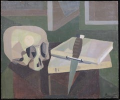 Still Life with Skull (cubist mid-century French painting)