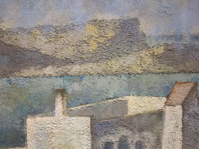 Enrique Climent (1897-1980). Casas de Ibiza, c.1960. Oil and sand on canvas, 35 x 46 inches; 44.5 x 55.5 inches (frame). Signed lower left. Excellent condition with no damage or conservation. Instituo National de Bellas Artes lebel affixed en verso.