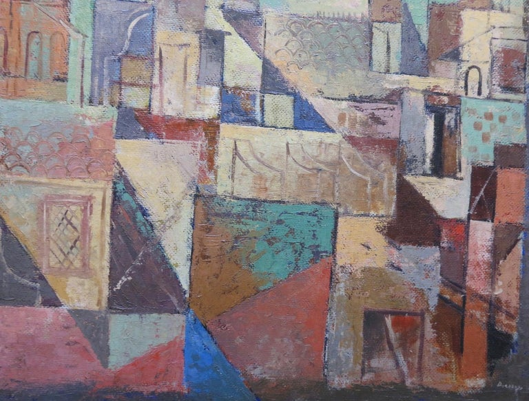 Italian City (Cubist cityscape) - Painting by Karl Drerup