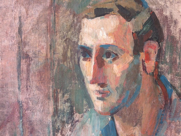 Portrait of a Man, Yaddo  - Gray Portrait Painting by Rosemarie Beck