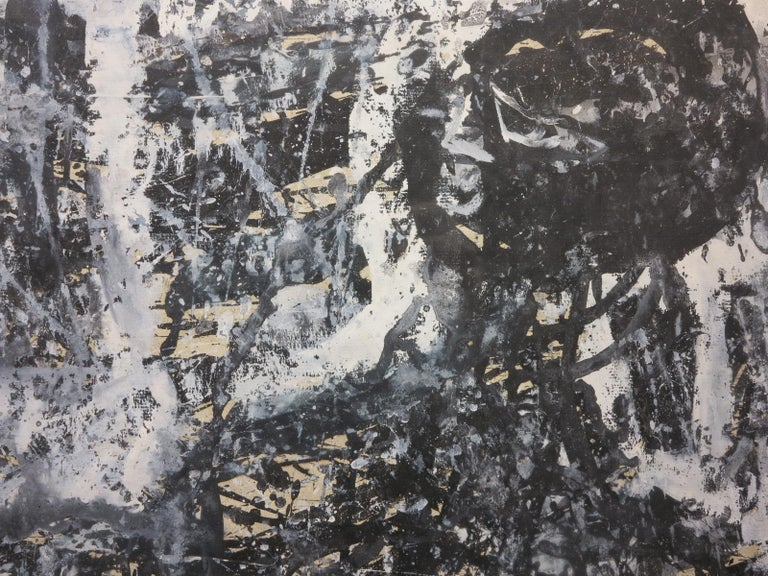 Blues Singer - Black Abstract Painting by Paul F. Keene Jr.