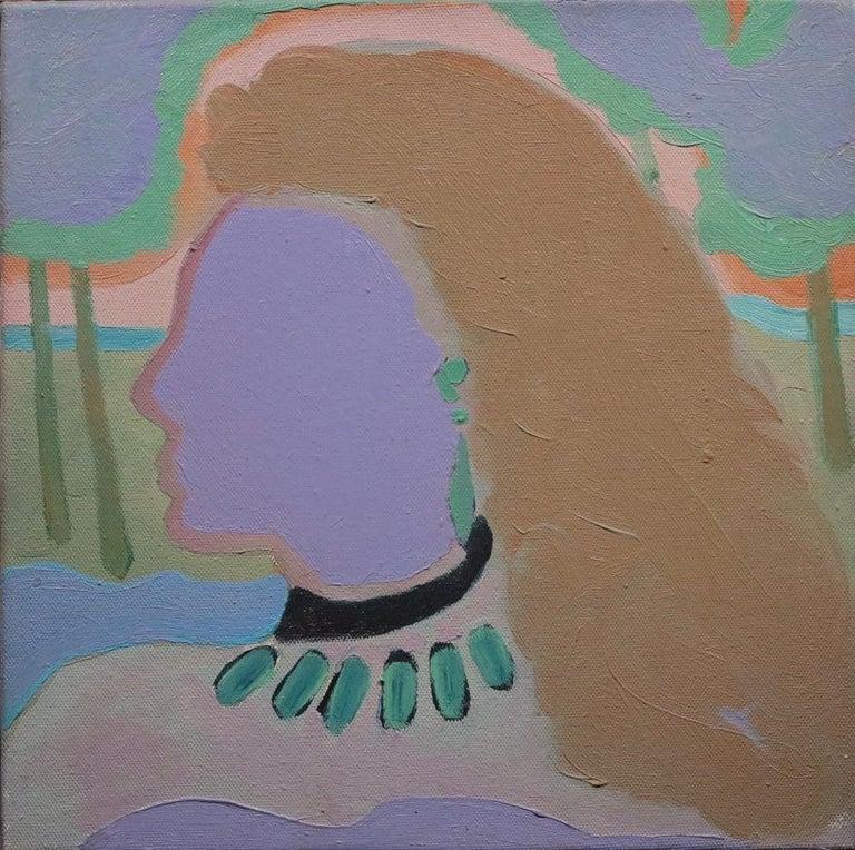 Elliott Barowitz Abstract Painting - Little Blue Head (Abstract Female Portrait)