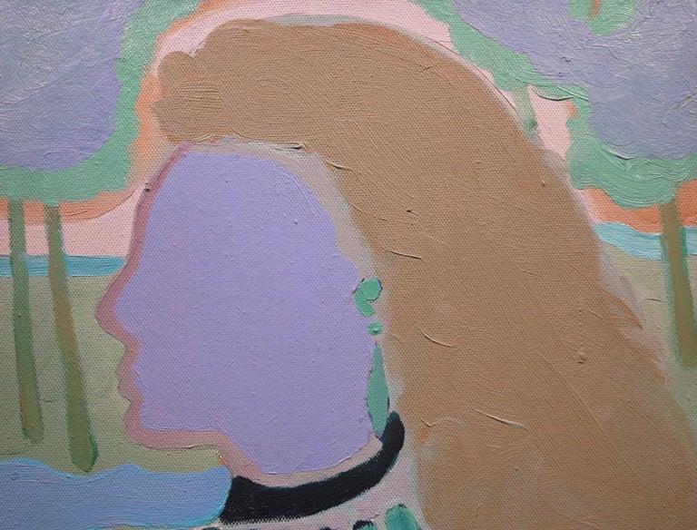 Little Blue Head (Abstract Female Portrait) - Pop Art Painting by Elliott Barowitz