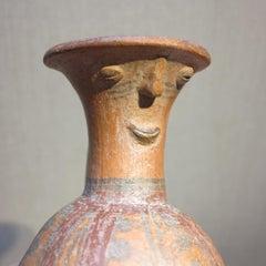 Chimu Inca c.1500 Peruvian terra-cotta anthropomorphic face vase vessel Peru