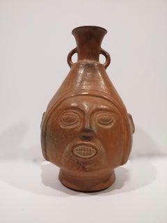 Chimu c.1100 Peruvian terra-cotta portrait face vase vessel Peru