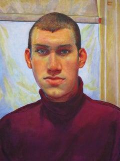 Untitled Male Portrait (Plum Turtleneck)