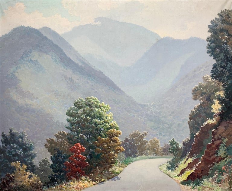 Ruthven Byrum (1896-1958). Mount Le Conte, ca.1935. Oil on canvas, measures an impressive 25 x 30 inches, 31 x 36 inches in the original, custom carved frame created for the piece by Newman Galleries, Philadelphia.  Original label affixed en verso