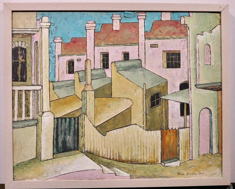 City Streets (British Street scene architectural landscape) - Painting by Rene Beckley