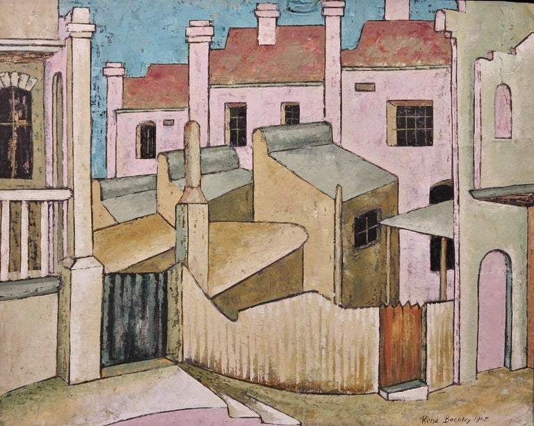 Rene Beckley Abstract Painting - City Streets (British Street scene architectural landscape)