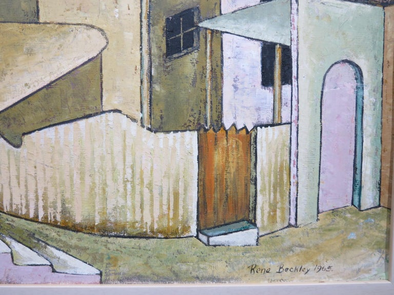 City Streets (British Street scene architectural landscape) - Modern Painting by Rene Beckley