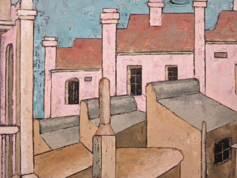 City Streets (British Street scene architectural landscape) - Brown Abstract Painting by Rene Beckley