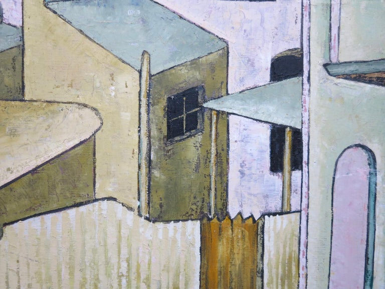 Rene Beckley. City Streets, 1965. Oil on artist board, 16 x 20 inches; 18 x 22 inches framed. Signed and dated lower right.