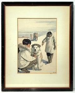 A Puppy Named Gih (Inuit Eskimo Alaska book illustration)