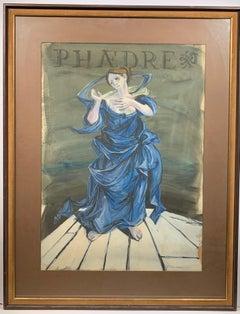 Phaedra (Phedre, Greek Goddess theatre illustration painting)