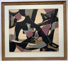 Girl with Fruit (cubist geometric mid-century modern print)