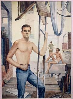 Surrealist Landscape with Figures (Male Nude)