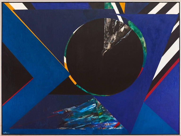 Untitled Blue Abstract - Painting by Budd Hopkins
