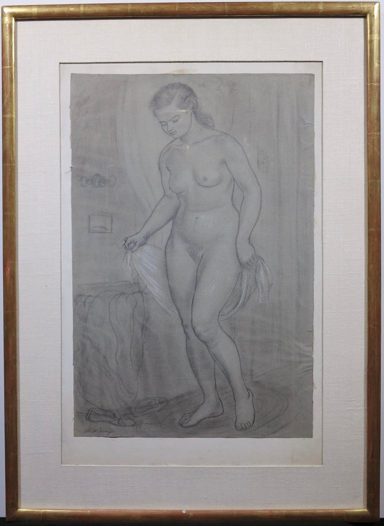 Portrait of a Young Woman at her Bath (female nude) - Art by Albert Sway