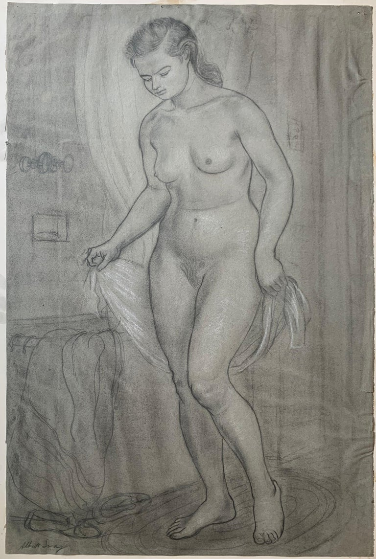 Albert Sway Figurative Art - Portrait of a Young Woman at her Bath (female nude)
