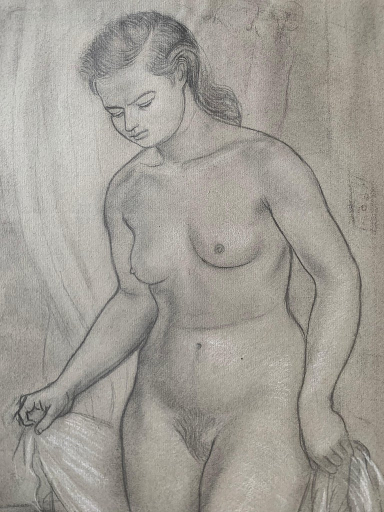 Portrait of a Young Woman at her Bath (female nude) - American Realist Art by Albert Sway