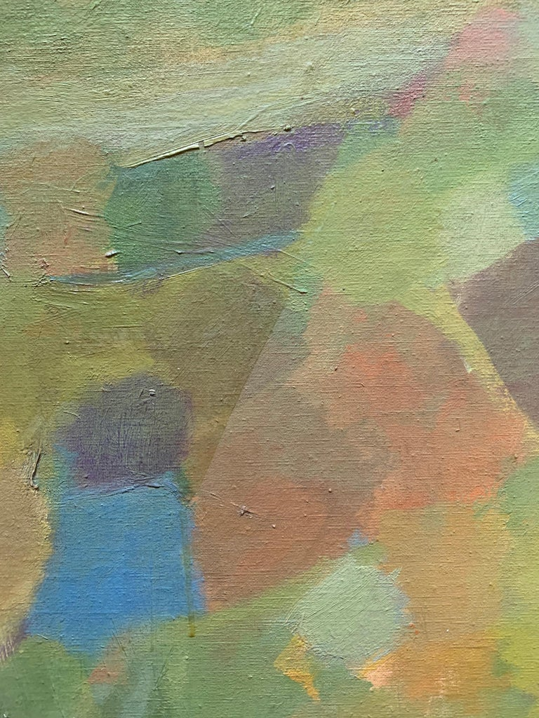 Beautiful abstract landscape by American artist, Judith Ingram (1926-2012). Landscape, ca. late 1960s. . Oil on canvas laid down to masonite panel, measures 29 x 52.5 inches; 30.5 x 54 inches framed. Frame is custom, gilt edge solid mahogany.