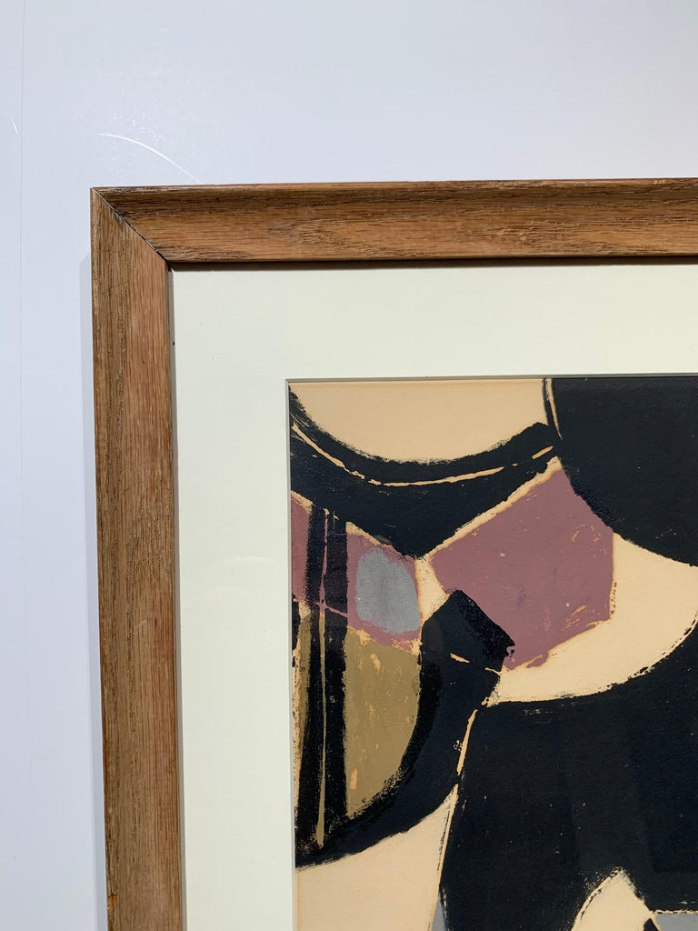 Girl with Fruit (cubist geometric mid-century modern print) For Sale 3