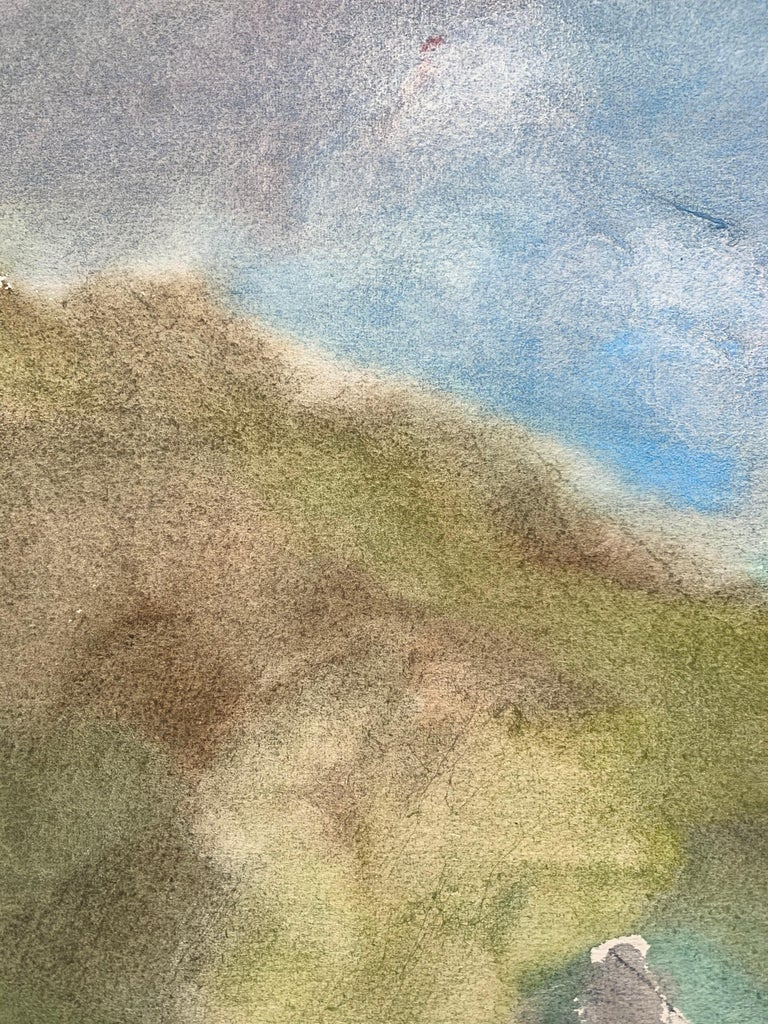 Yuri Larin (1936-2014). Landscape, 1982. Watercolor on paper, 17 x 18.5 inches. Mounted on cardboard sheet measuring 24 x 28 inches. Signed and dated lower left. Excellent condition. Image is painted on verso side of block print wallpaper sheet of