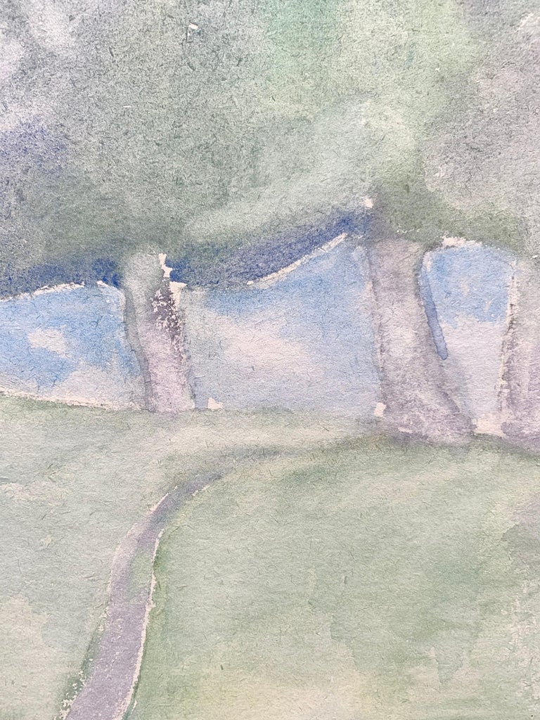 Yuri Larin (1936-2014). Landscape, 1984. Watercolor on paper, 16.5 x 16.5 inches. Mounted on cardboard sheet measuring 24 x 28 inches. Signed and dated lower left. Excellent condition. Image is painted on verso side of block print wallpaper sheet of