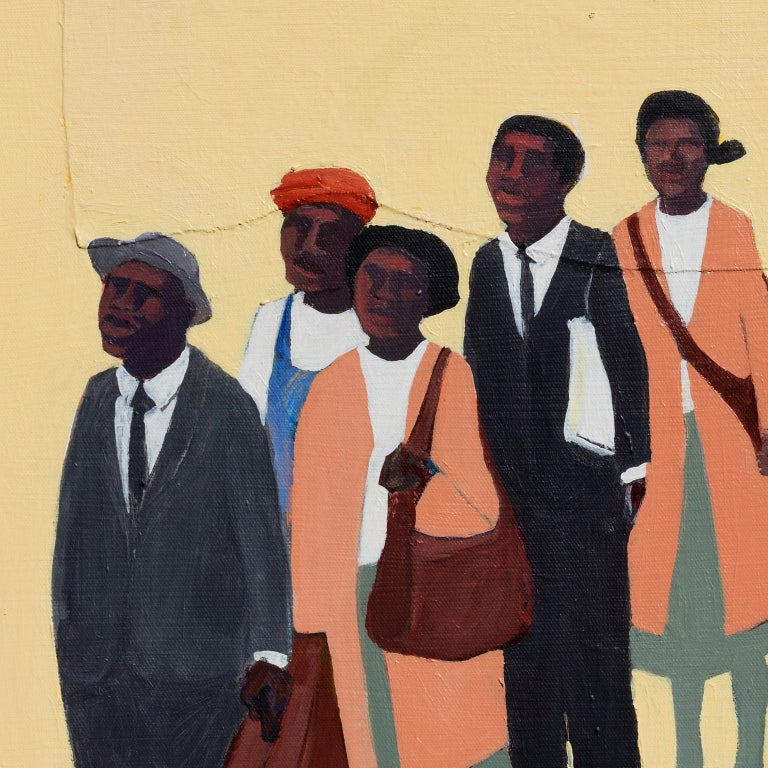 Monday Morning #2 - Figurative Painting with African American Figures For Sale 1