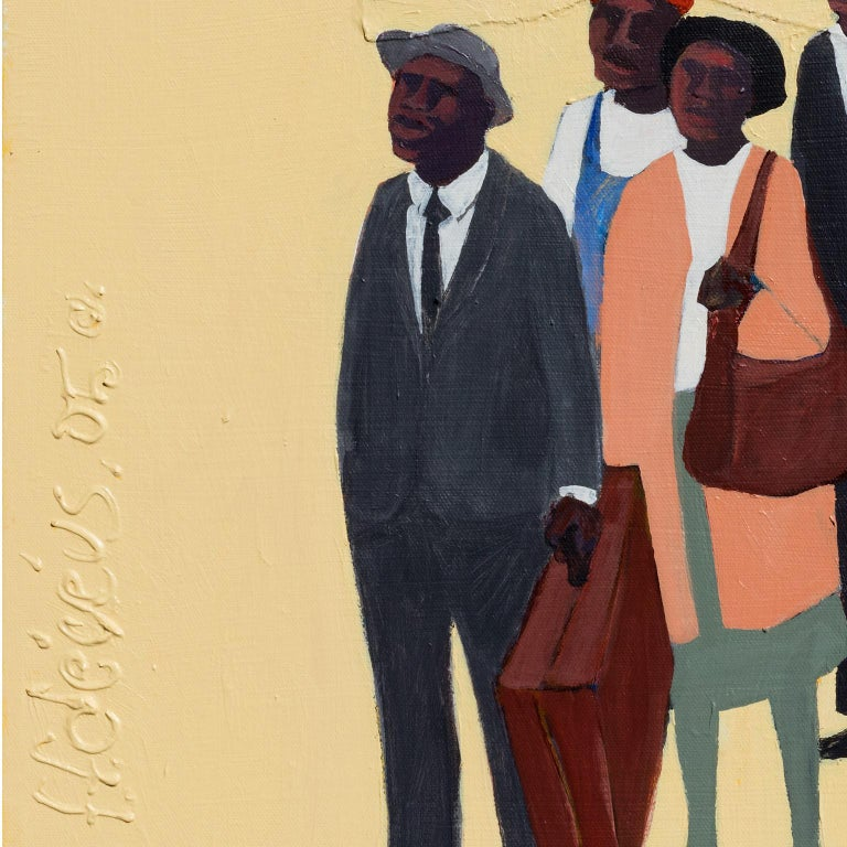Monday Morning #2 - Figurative Painting with African American Figures For Sale 3